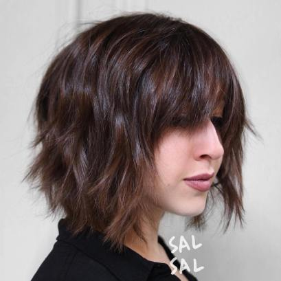 9 Shaggy Brown Bob With Bangs
